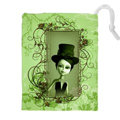 Cute Girl With Steampunk Hat And Floral Elements Drawstring Pouches (xxl)