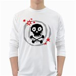 Spiral Skull White Long Sleeve T-Shirts Front