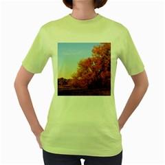 BEAUTIFUL AUTUMN DAY Women s Green T-Shirt