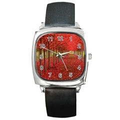 Avenue Of Trees Square Metal Watches