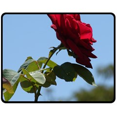 RED ROSE 2 Double Sided Fleece Blanket (Medium)