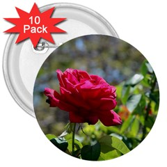 RED ROSE 1 3  Buttons (10 pack)