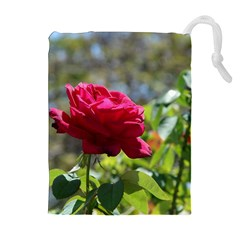 RED ROSE 1 Drawstring Pouches (Extra Large)