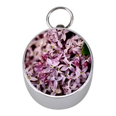 Purple Lilacs Mini Silver Compasses