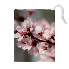 PLUM BLOSSOMS Drawstring Pouches (Extra Large)