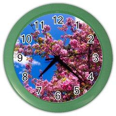 PINK FLOWERS Color Wall Clocks