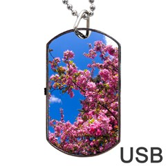 Pink Flowers Dog Tag Usb Flash (two Sides)