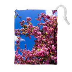 PINK FLOWERS Drawstring Pouches (Extra Large)