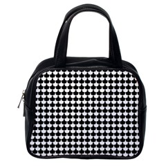 Black And White Scallop Repeat Pattern Classic Handbags (One Side)