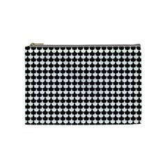 Black And White Scallop Repeat Pattern Cosmetic Bag (Medium)