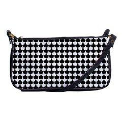 Black And White Scallop Repeat Pattern Shoulder Clutch Bags