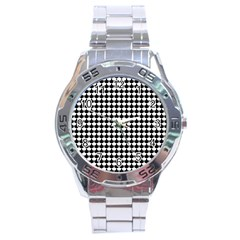 Black And White Scallop Repeat Pattern Stainless Steel Men s Watch