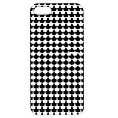 Black And White Scallop Repeat Pattern Apple iPhone 5 Hardshell Case with Stand