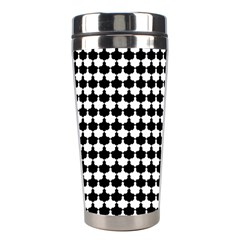 Black And White Scallop Repeat Pattern Stainless Steel Travel Tumblers