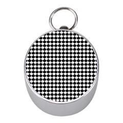 Black And White Scallop Repeat Pattern Mini Silver Compasses