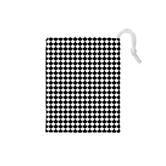 Black And White Scallop Repeat Pattern Drawstring Pouches (small)