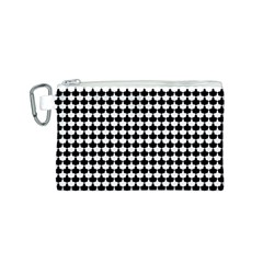 Black And White Scallop Repeat Pattern Canvas Cosmetic Bag (S)