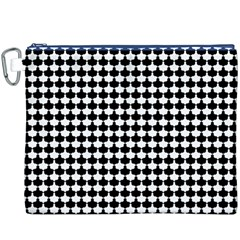 Black And White Scallop Repeat Pattern Canvas Cosmetic Bag (XXXL)
