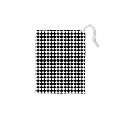 Black And White Scallop Repeat Pattern Drawstring Pouches (xs)