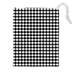 Black And White Scallop Repeat Pattern Drawstring Pouches (XXL)