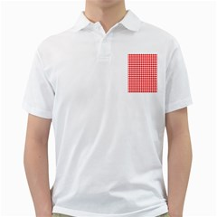 Red And White Scallop Repeat Pattern Golf Shirts