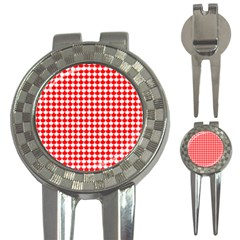 Red And White Scallop Repeat Pattern 3-in-1 Golf Divots