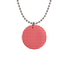 Red And White Scallop Repeat Pattern Button Necklaces