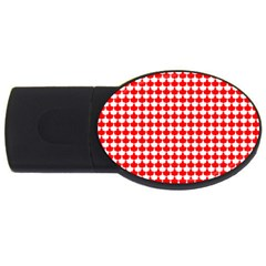 Red And White Scallop Repeat Pattern USB Flash Drive Oval (4 GB)
