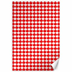 Red And White Scallop Repeat Pattern Canvas 12  X 18