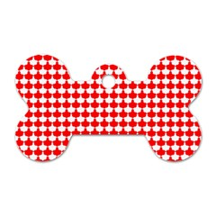 Red And White Scallop Repeat Pattern Dog Tag Bone (One Side)