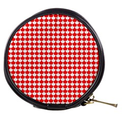 Red And White Scallop Repeat Pattern Mini Makeup Bags