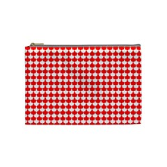 Red And White Scallop Repeat Pattern Cosmetic Bag (Medium)