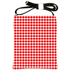 Red And White Scallop Repeat Pattern Shoulder Sling Bags