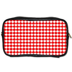 Red And White Scallop Repeat Pattern Toiletries Bags
