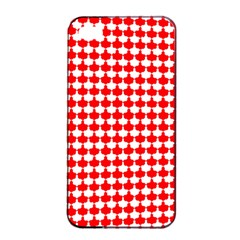 Red And White Scallop Repeat Pattern Apple Iphone 4/4s Seamless Case (black)
