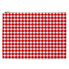 Red And White Scallop Repeat Pattern Cosmetic Bag (XXL)