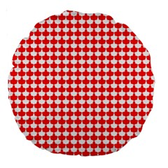 Red And White Scallop Repeat Pattern Large 18  Premium Round Cushions