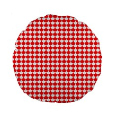 Red And White Scallop Repeat Pattern Standard 15  Premium Flano Round Cushions