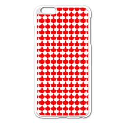 Red And White Scallop Repeat Pattern Apple Iphone 6 Plus/6s Plus Enamel White Case