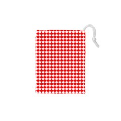Red And White Scallop Repeat Pattern Drawstring Pouches (XS)
