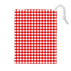 Red And White Scallop Repeat Pattern Drawstring Pouches (Extra Large)