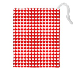 Red And White Scallop Repeat Pattern Drawstring Pouches (XXL)