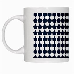 Navy And White Scallop Repeat Pattern White Mugs