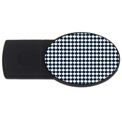Navy And White Scallop Repeat Pattern USB Flash Drive Oval (2 GB)