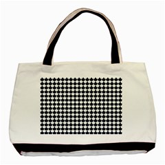 Navy And White Scallop Repeat Pattern Basic Tote Bag