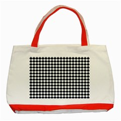 Navy And White Scallop Repeat Pattern Classic Tote Bag (Red)