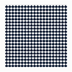 Navy And White Scallop Repeat Pattern Medium Glasses Cloth (2-Side)