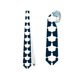 Navy And White Scallop Repeat Pattern Neckties (two Side)
