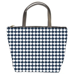 Navy And White Scallop Repeat Pattern Bucket Bags