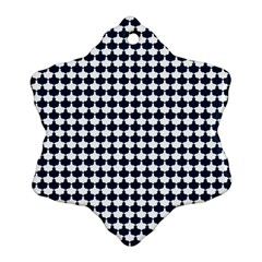 Navy And White Scallop Repeat Pattern Ornament (Snowflake)
